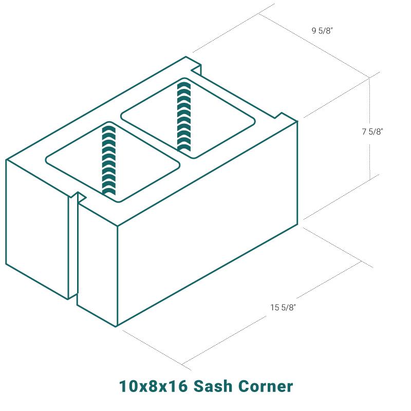 10 x 8 x 16 Sash Corner