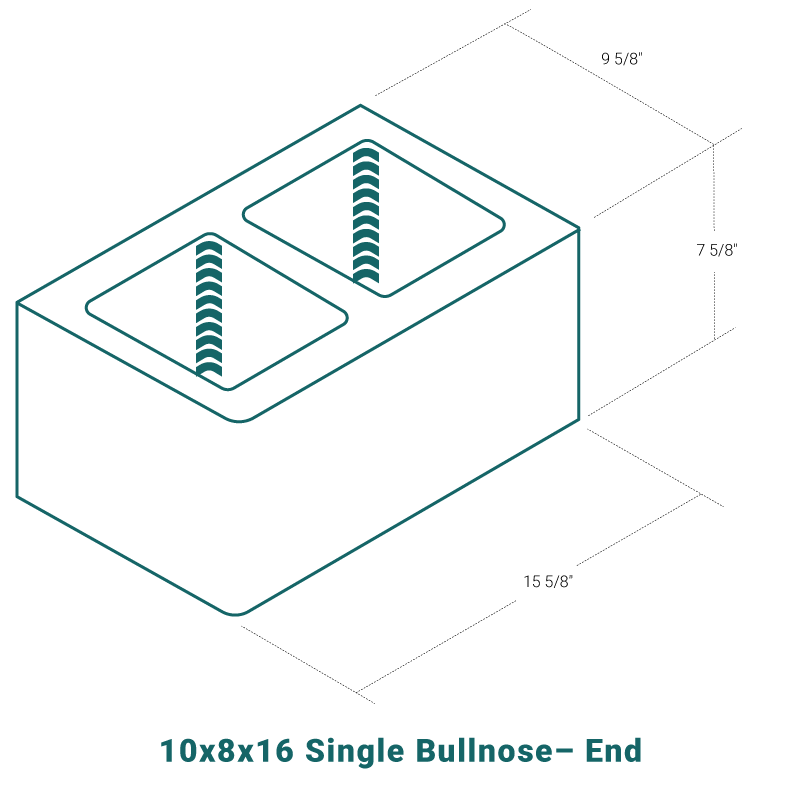 10 x 8 x 16 Single Bullnose - End