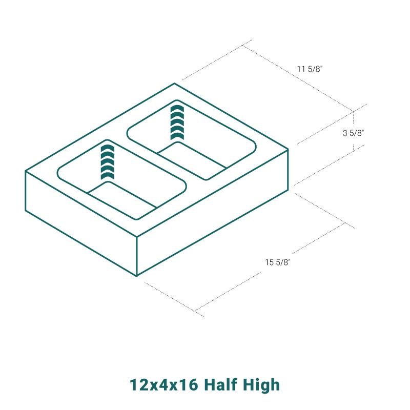 12 x 4 x 16 Half High