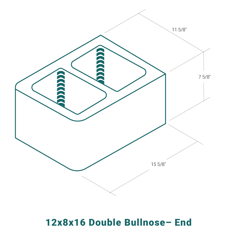 12 x 8 x 16 Double Bullnose - End
