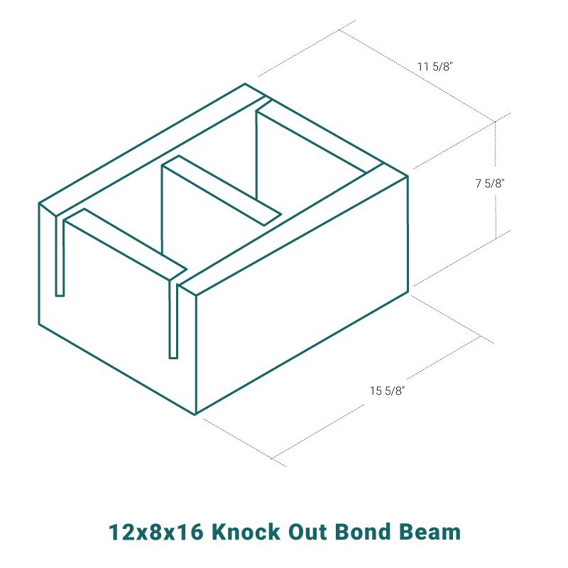 12 x 8 x 16 Knock Out Bond Beam