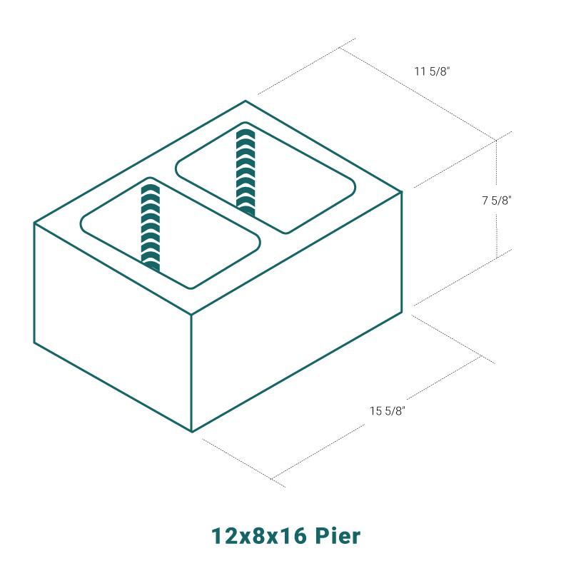 12 x 8 x 16 Pier
