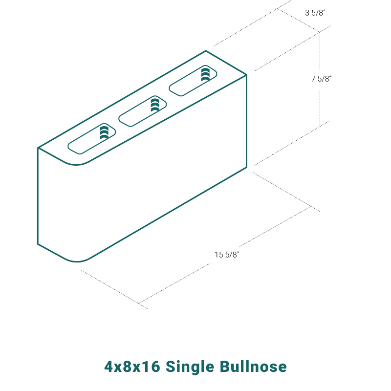 4 x 8 x 16 Single Bullnose