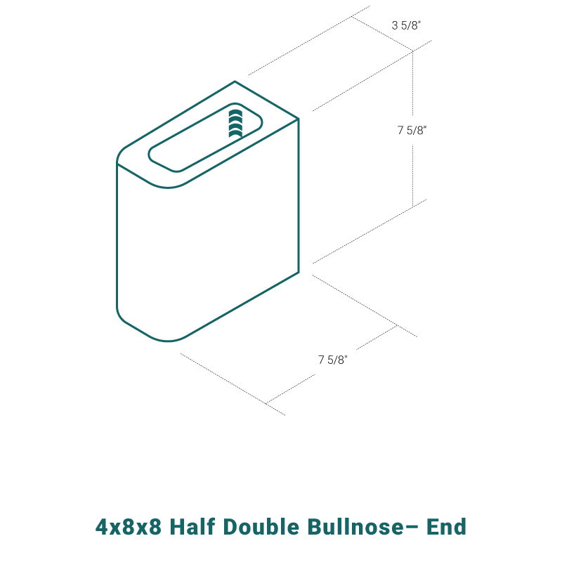 4 x 8 x 8 Half Double Bullnose - End