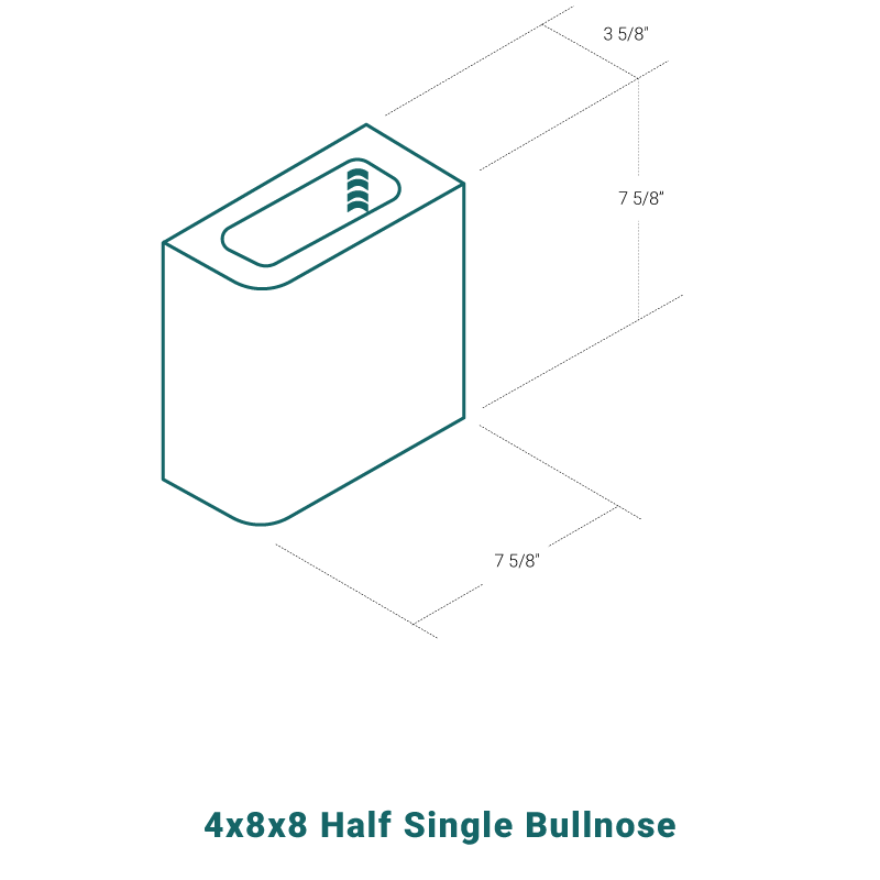 4 x 8 x 8 Half Single Bullnose