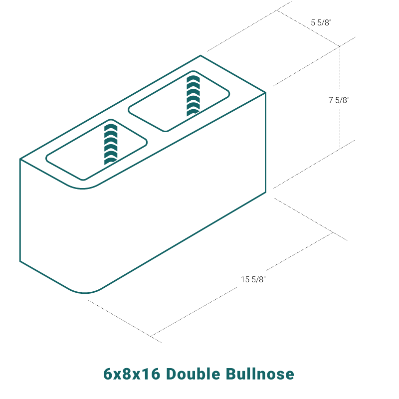 6 x 8 x 16 Double Bullnose