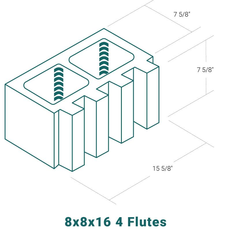 8 x 8 x 16 - 4 Flutes