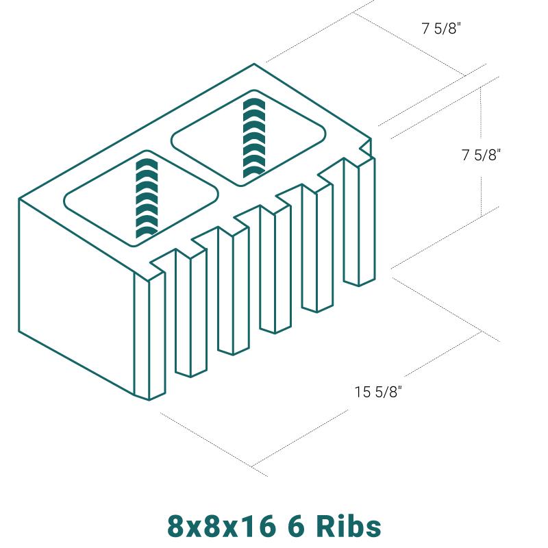 8 x 8 x 16 - 6 Ribs