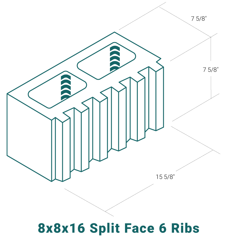 8 x 8 x 16 Split Face - 6 Ribs
